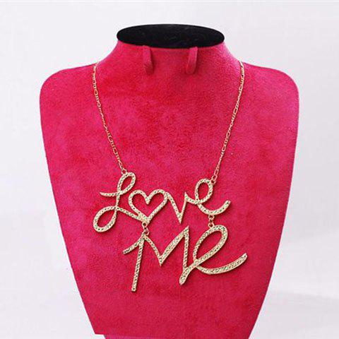 Trendy Fashion Rhinestoned Love-Me Pendant Women's Necklace