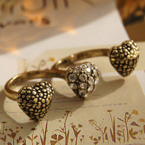 Trendy Vintage Rhinestoned Heart Decorated Multi Finger Double Ring - ONE SIZE AS THE PICTURE Mobile