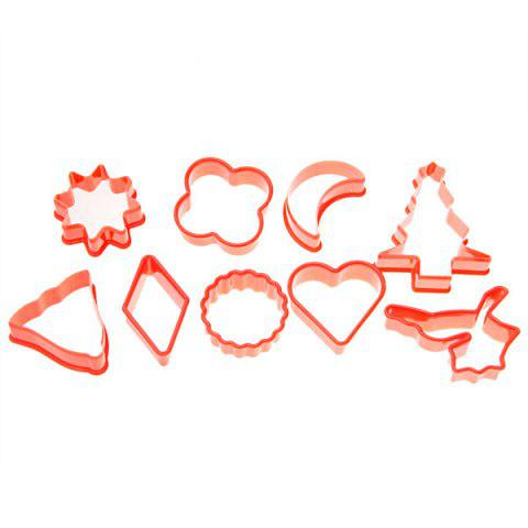 Trendy 10PCS Plastic Cake Cookie Model with Different Shapes - RED  Mobile