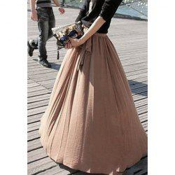 Ladylike Style High Elasticity Solid Color Bow Tie Women's Skirt -