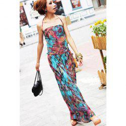 Maxi Halter Print Bohemian Dress for Summer -
