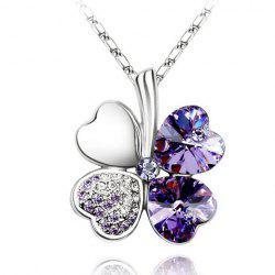 Clover Rhinestone Decorated Pendant Necklace -