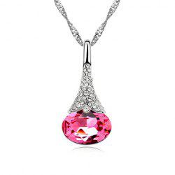 Rhinestoned Waterdrop Pendant Necklace -