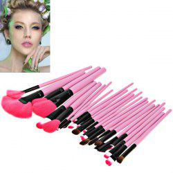Fashion 24PCS Pink Soft Nylon Hair Make-up Brushes with Leather Bag - PINK