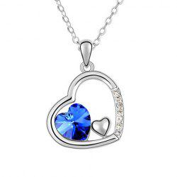 Rhinestoned Heart Pendant Necklace -