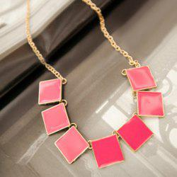 Retro Square Pendant Necklace