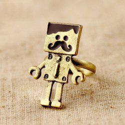 Vintage Mustache Robot-Shaped Decorated Women's Ring -