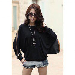 Casual Off Shoulder Solid Color Batwing Coton Blend T-shirt Femme - Noir