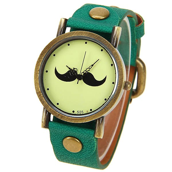 Fashion Quartz Watch with Dots Indicate Mustache Patterned Leather Watchband for Unisex