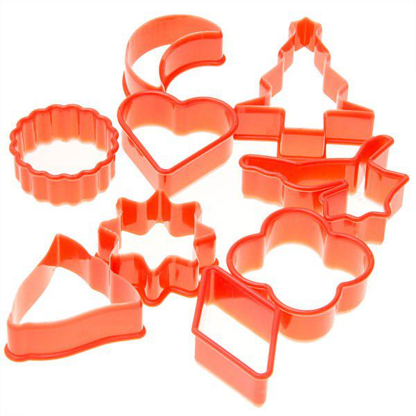 10PCS Plastic Cake Cookie Model with Different ShapesHOME<br><br>Color: RED;