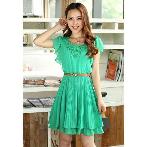 Buy Ladylike Crochet Lace Embellished Sold Color Women's Chiffon Pleated Dress With Belt