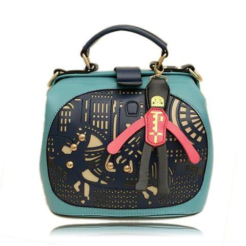 Outfit Casual Color Block and Openwork Studs Design Women's Tote