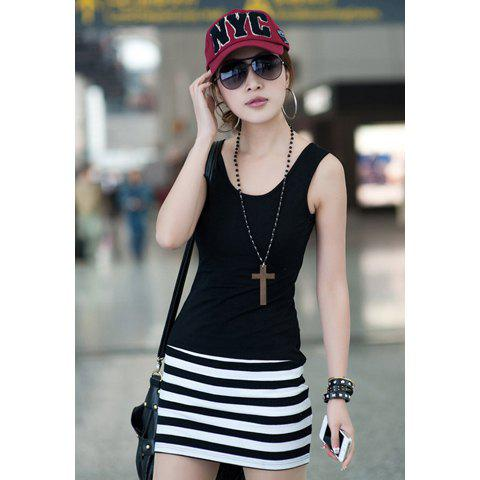 Affordable Sleeveless Scoop Neck Stripe Print Casual Women's Sundresses