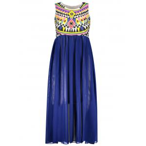 Ruffled Sleeveless Print Bohemian Chiffon African Maxi Dress - Blue - One Size