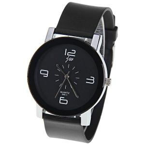 JW Quartz Watch with 4 Numbers Indicate Dial Rubber Watchband for Women - Black - Black
