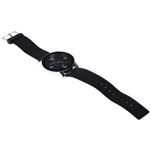 JW Quartz Watch with 4 Numbers Indicate Dial Rubber Watchband for Women - Black -