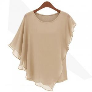 Flounce Edge Scoop Neck Chiffon Fashionable Style Solid Color Women's Blouse