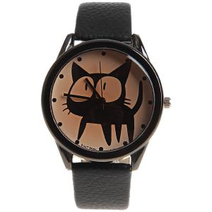 Kuromi Quartz Watch with Dots Indicate Dial Leather Watchband for Women (Black) -