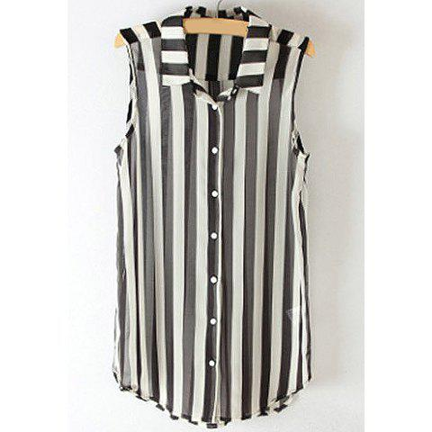 Hot Fashionable Polo Collar Monochrome Splicing Sleeveless Shirt For Women