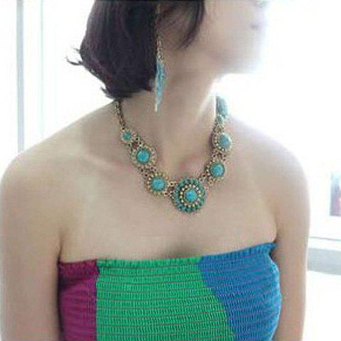 Outfit Bohemian Style Faux Gem Embellished Necklace For Women