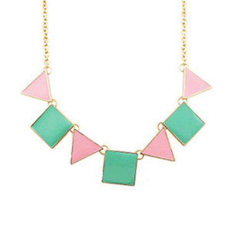 Outfits Fashion Style Colored Glaze Triangle and Square Shape Pendant Embellished Necklace For Women