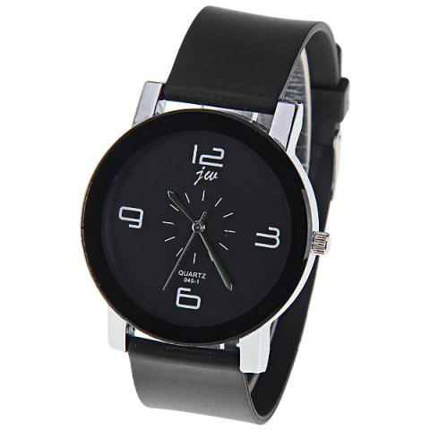 Cheap JW Quartz Watch with 4 Numbers Indicate Dial Rubber Watchband for Women - Black