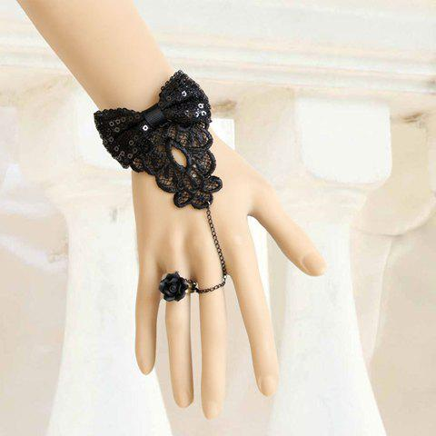 Trendy Delicate Jacquard and Sequins Bowknot Embellished Women's Lace Bracelet With Flower Shape Ring