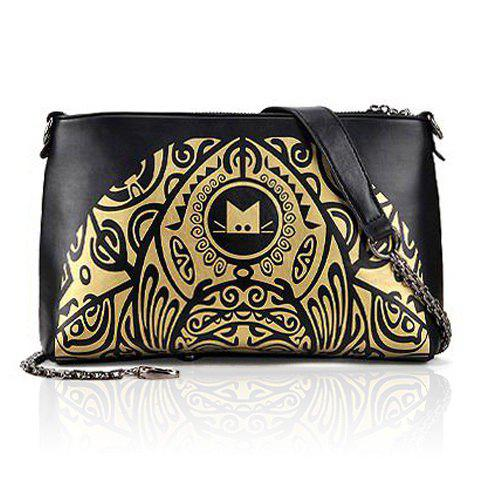 Buy Vintage Style Color Matching and Floral Print Design Women's Shoulder Bag BLACK