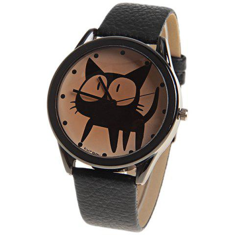 Kuromi Quartz Watch with Dots Indicate Dial Leather Watchband for Women (Black) - Black