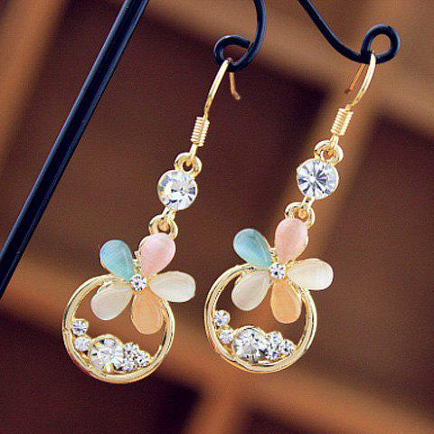 Multicolor Flower Rhinestone Drop Earrings - AS THE PICTURE