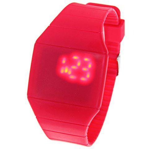 Buy Rubber Touch Screen Sport Watches with Red Display Time Rectangle Shape