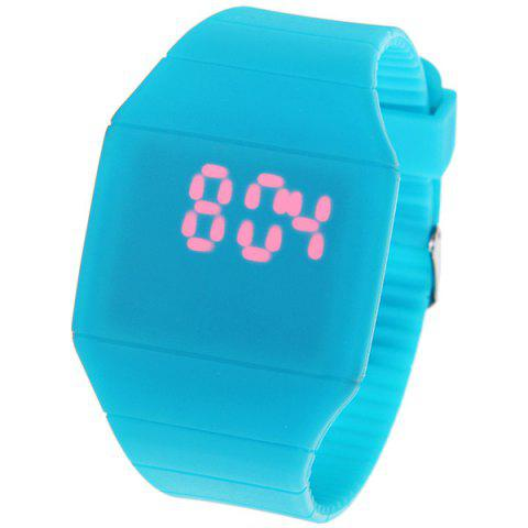 Chic Rubber Touch Screen Sport Watches with Red Display Time Rectangle Shape