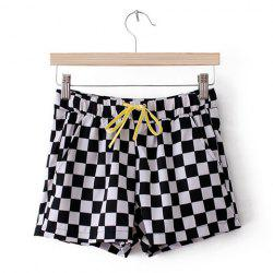 Elegant Checkerboard Pattern Drawstring Women's Shorts -