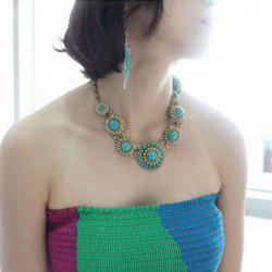 Bohemian Style Faux Gem Embellished Necklace For Women -