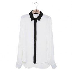 Spring Clothing Glamour Long Sleeved Chiffon Women's Shirt -