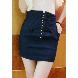 High-Waist Solid Color Sexy Style Denim Women's Skirt -