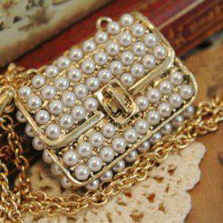 Vintage Faux Pearl Bag Pendant Design Necklace