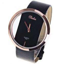 Dalas Quartz Watch with Hollow-out Dial Leather Watchband for Women (Black)