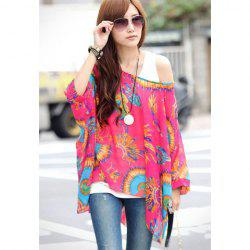 Loose-Fitting Peacock Displays Pattern Batwing Sleeve Women's Chiffon Blouse - RED