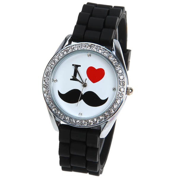 Buy Quartz Watch with 4 Diamonds Dots Indicate Rubber Watchband for Women