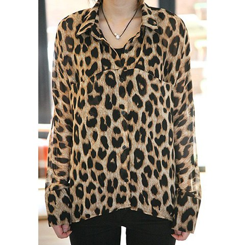 Affordable Long Sleeves Polo Collar Leopard Pattern Sophisticated Style Chiffon Women's Blouse