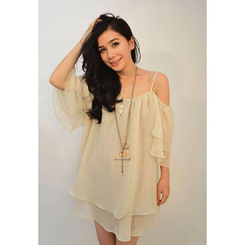 Affordable Loose-Fitting Off-The-Shoulder Spaghetti Strap Women's Chiffon Blouse