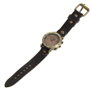 WoMaGe Quartz Watch with Numbers and Triangles Indicate Leather Band for Women (Black) -