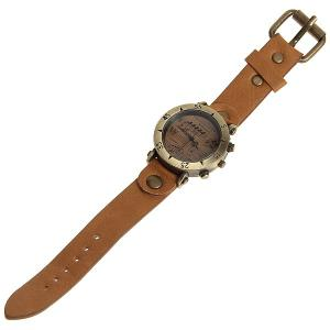 WoMaGe Quartz Watch with Numbers and Triangles Indicate Leather Band for Women (Brown) -