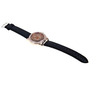 Gerryda Quartz Watch with12 Arabic Numbers Indicate Leather Watch Band for Women (Black) - BLACK