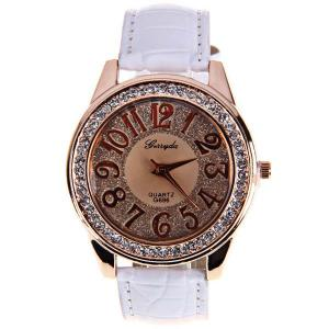 Gerryda Quartz Watch with12 Arabic Numbers Indicate Leather Watch Band for Women (White) -