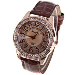 Gerryda Quartz Watch with12 Arabic Numbers Indicate Leather Watch Band for Women (Dark Brown)