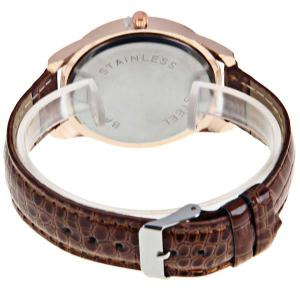 Gerryda Quartz Watch with12 Arabic Numbers Indicate Leather Watch Band for Women (Dark Brown) - DARK BROWN