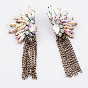 Chic Bohemian Style Diverse Rhinestone Embellished Women's Long Tassels Earrings - White - M