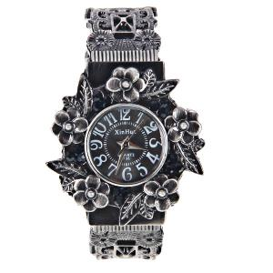 XinHua Quartz Watch with 12 Arabic Numbers Indicate Steel Watchband for Women (Black) -